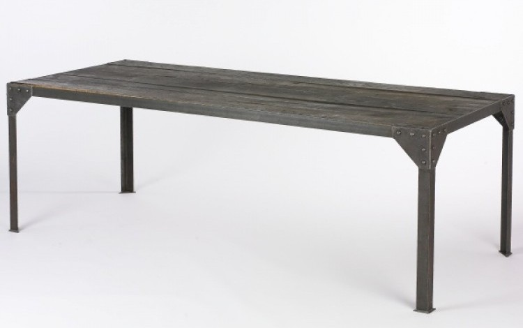 Wood and iron dining room table