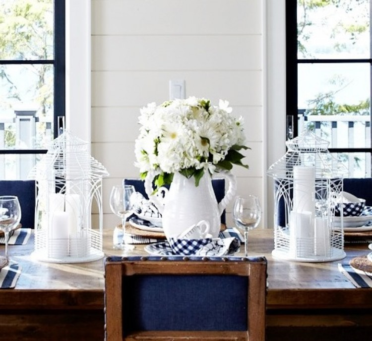 Modern Country Cottage Dining Room Fresh Cut White Flowers In Pitcher