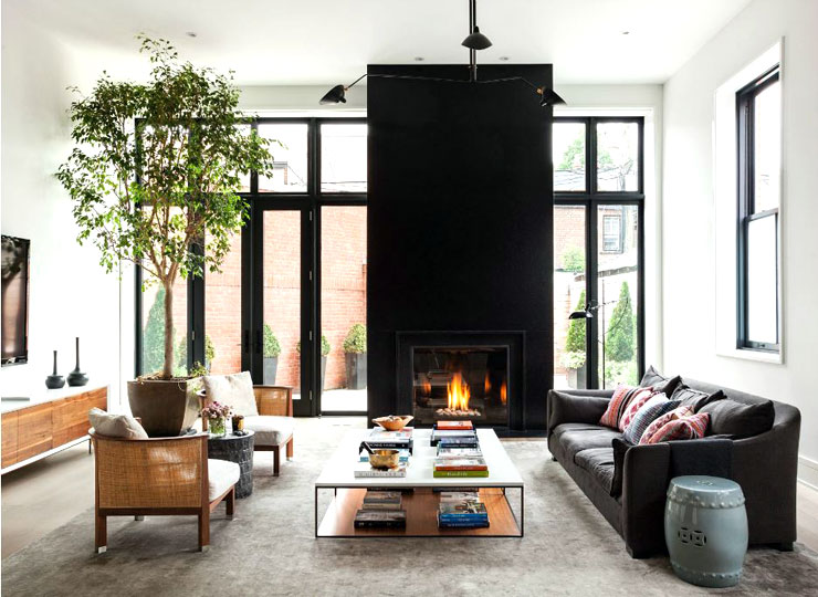 Apartment Decorating Ideas Living Room Fireplace in Black