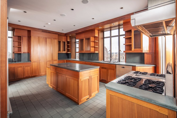 Tour Demi Moore $75 Million Dollar Apartment Kitchen Wood Cabinets