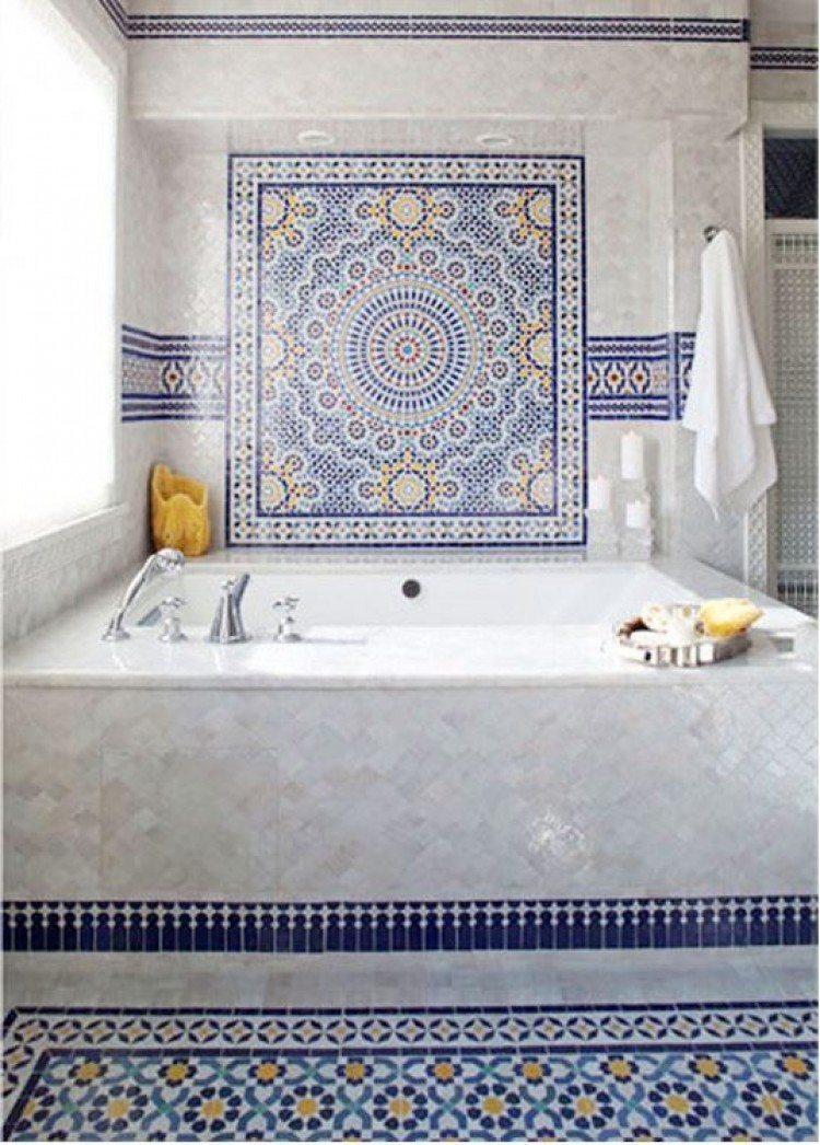 Blue moroccan mosaic tile bathroom in cape cod for Mosaic bathroom designs