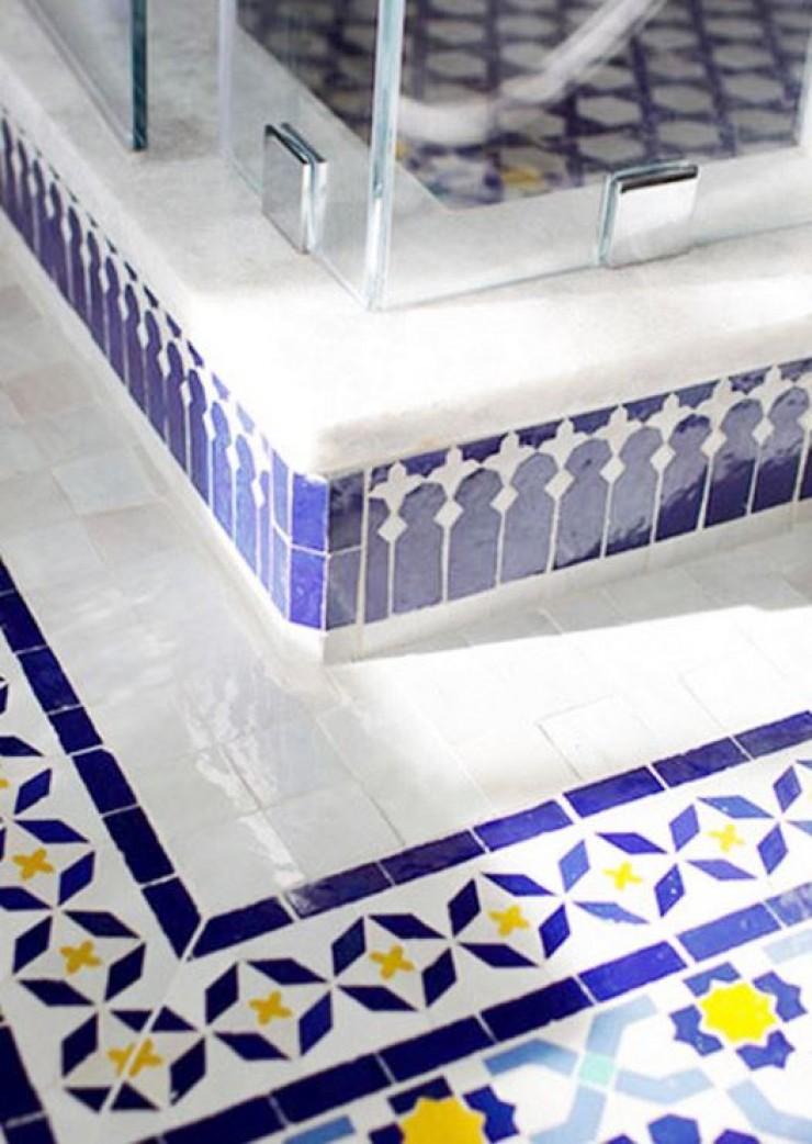 Blue Moroccan Mosaic Tile Bathroom