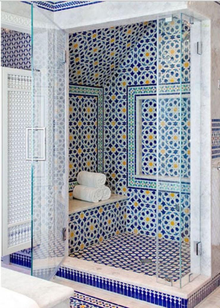 Exceptionnel Blue Moroccan Mosaic Tile Bathroom Shower