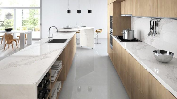 Malibu Home Renovation Example Kitchen Floors Caesarstone Calacatta Nuvo
