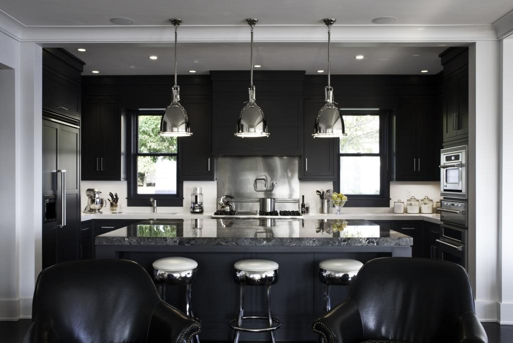 Monochromatic rooms black kitchen
