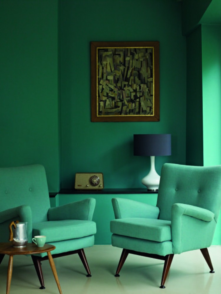Monochromatic rooms green sitting room