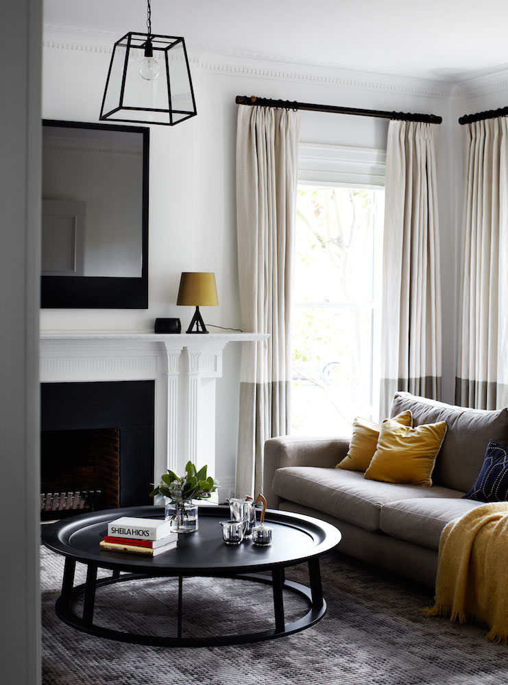 Two-tone grey drapes living room