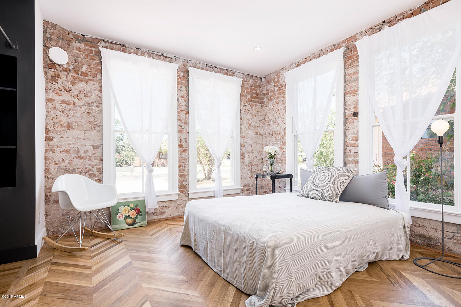 Exposed Brick Wall Modern Bungalow Master Bedroom