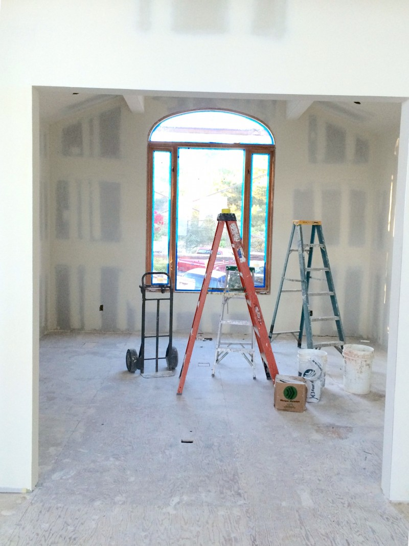 Malibu Home Renovation Den After Drywall Hung