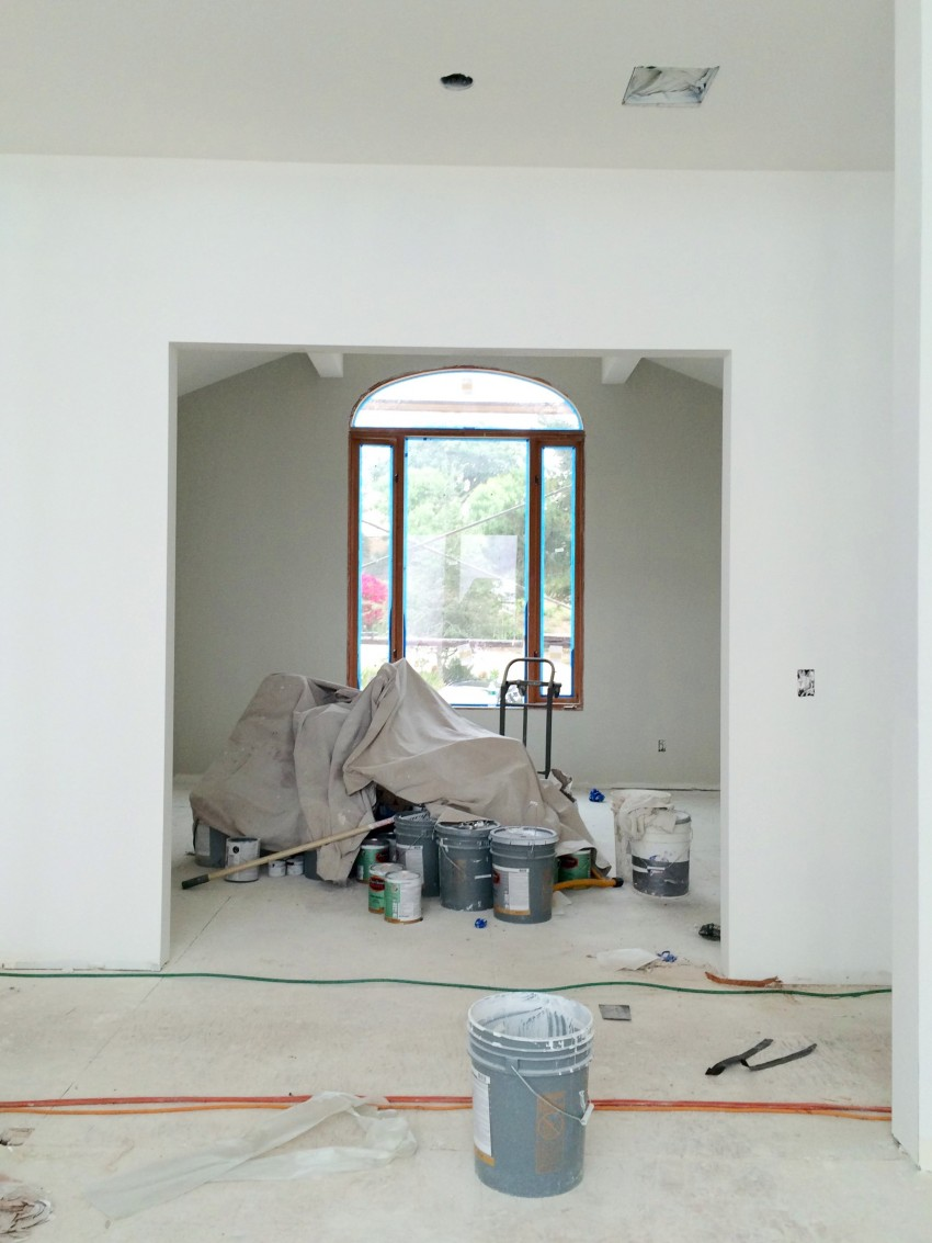 home renovation project den library painted arched window