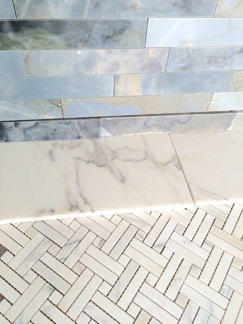 Malibu Home Renovation Master Bathroom Tile Moonstone Calacatta Borghini Marble
