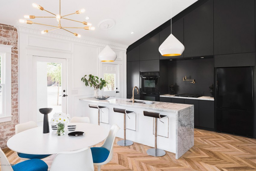 modern home black kitchen exposed brick eat in tulip table cococozy