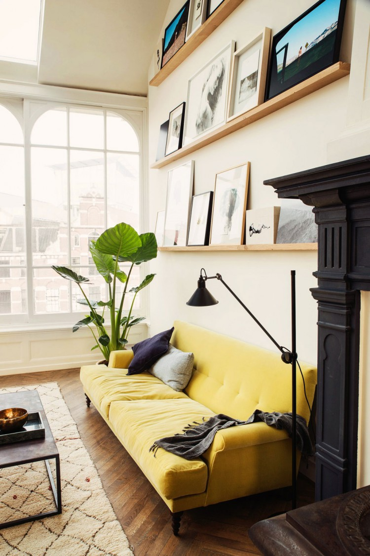 Yellow home design ideas velvet sofa