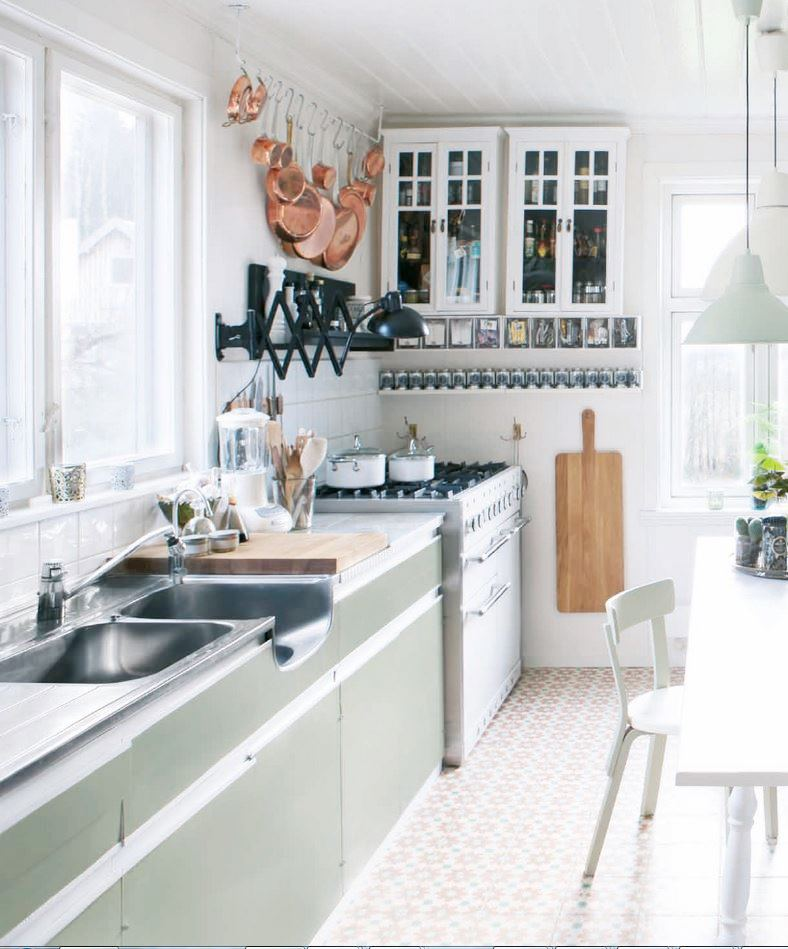 Country Kitchen Green Pastel Cabinets