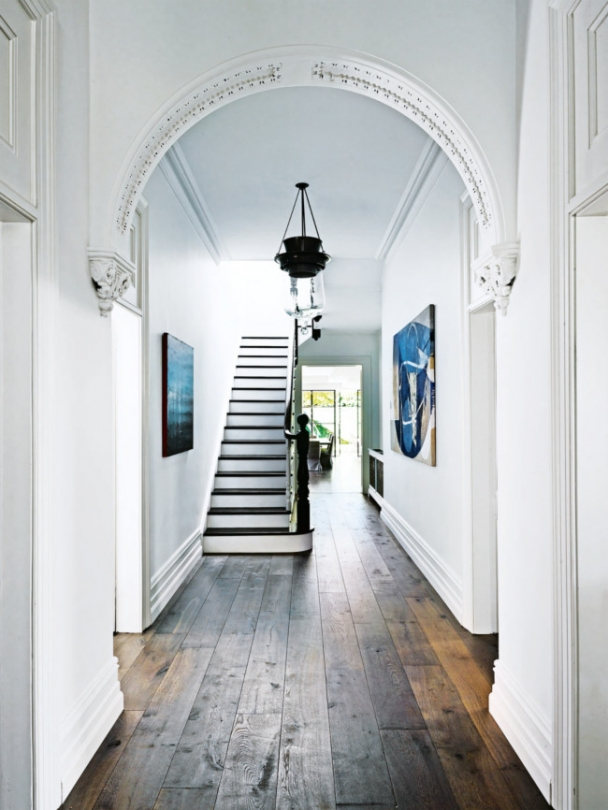 arches in a white foyer
