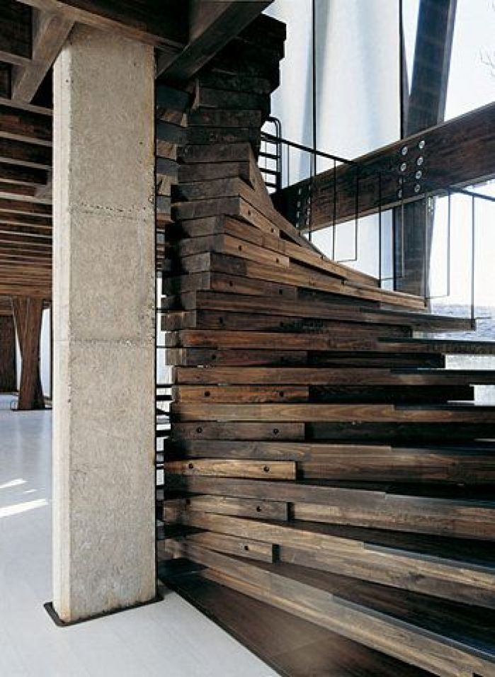 reclaimed wood staircase stairs