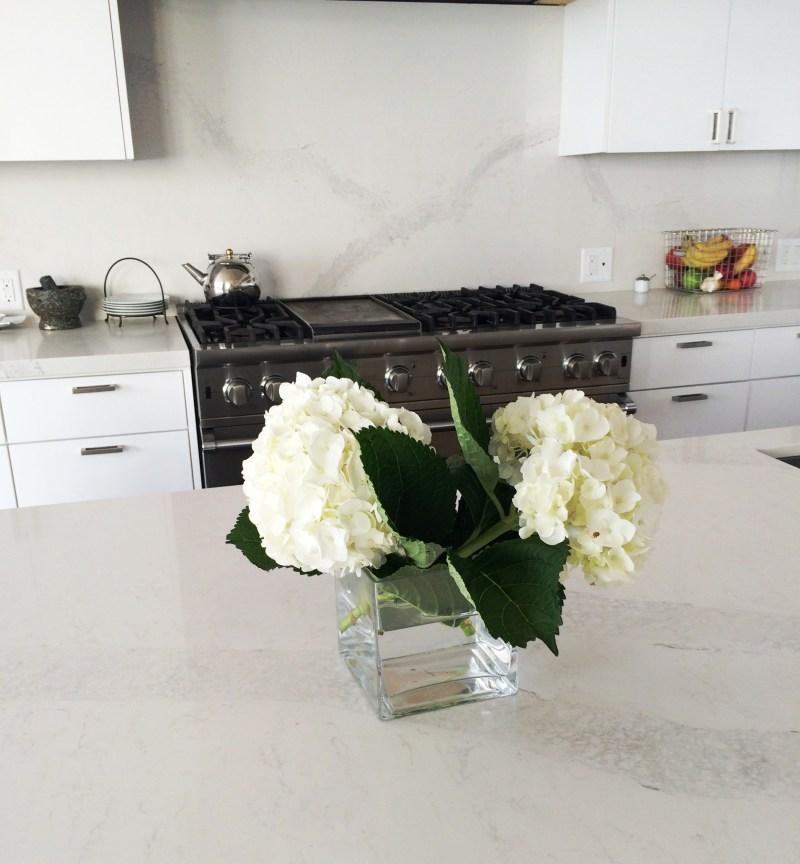 white hydrangea caesarstone kitchen counters cococozy