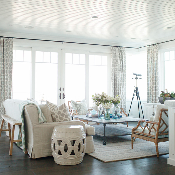 Beach Meets Country Home Living Room Bead Board Ceiling