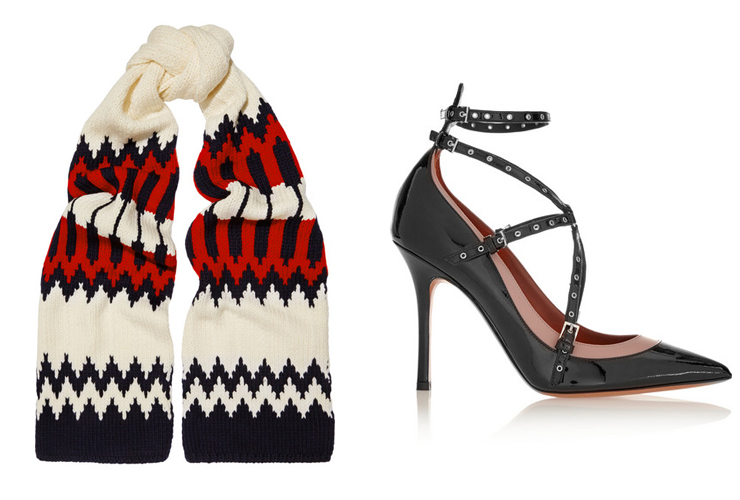L-R: Chloe Snow Capsule intarsia wool scarf, Valentino Love Latch eyelet-embellished patent-leather pumps