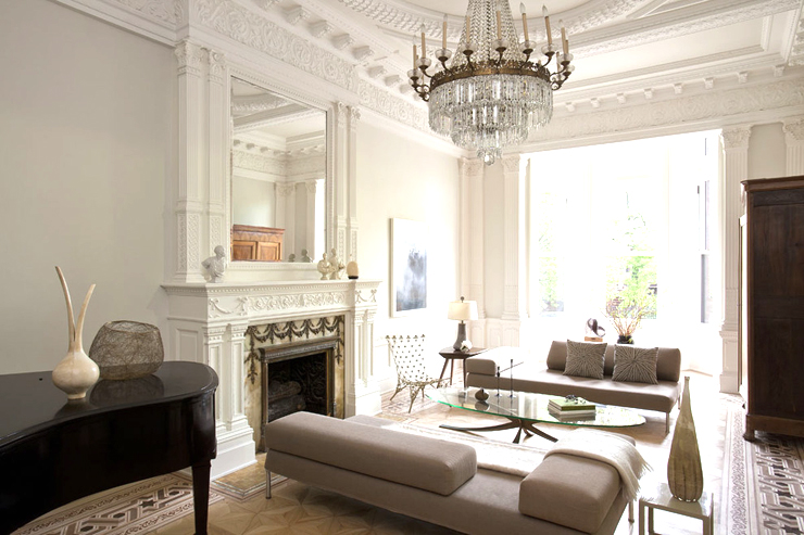 French empire chandelier in a living room