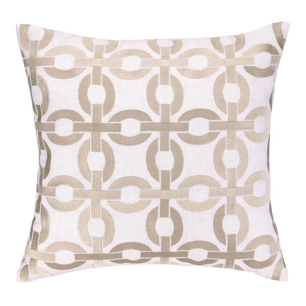 COCOCOZY Link Pillow Embroidered Taupe White