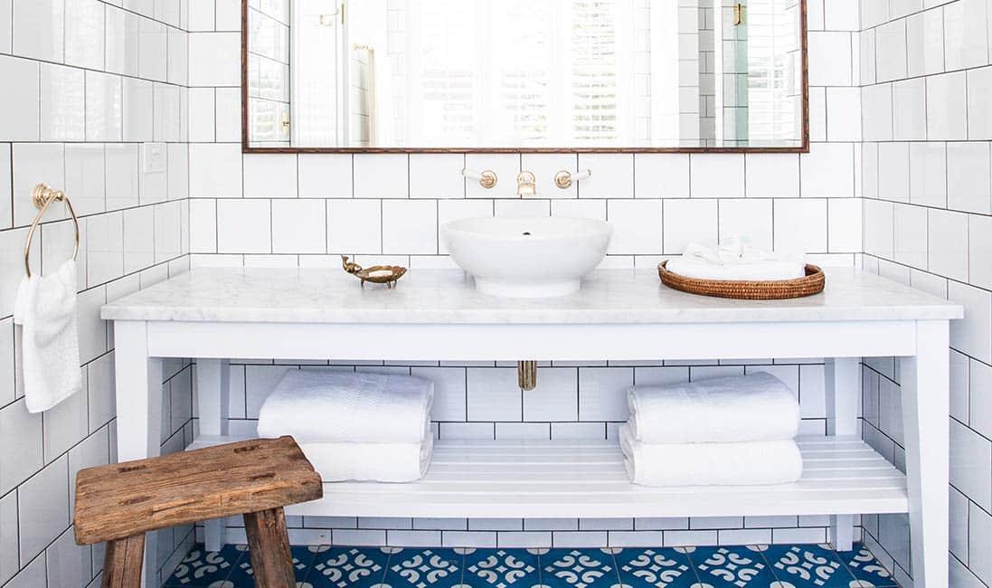 White Bathroom Subway Tile Blue Cement Tile  Floor Brass Plumbing Faucet Cococozy Halcyonhouse