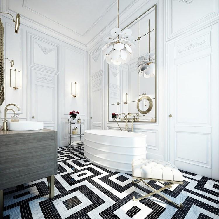 Black White Mosaic Tile Floor Bathroom Bath Cococozy