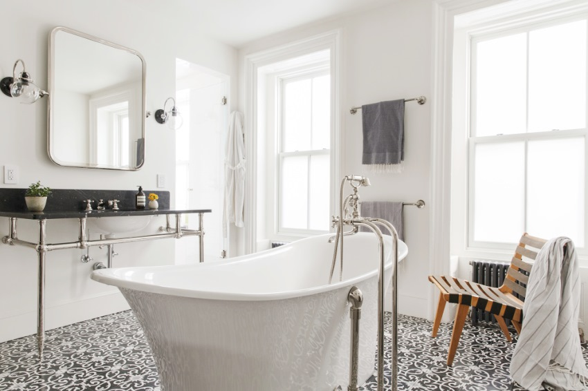 stand-alone-tub-bathroom-gray-cement-tile-floor-subway-tile-wall-dark-marble-vanity-countery-cococozy-elizabethroberts