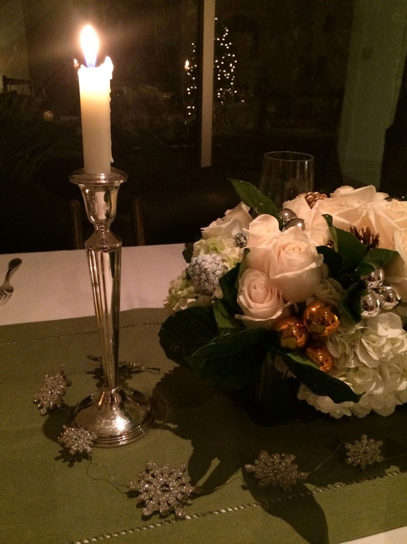Silver candle holder holiday table