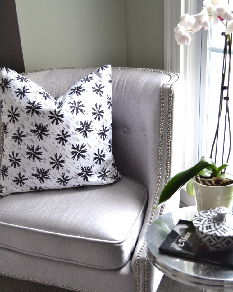Instagram Holiday Giveaway COCOCOZY Black White Pillow Grey Chair