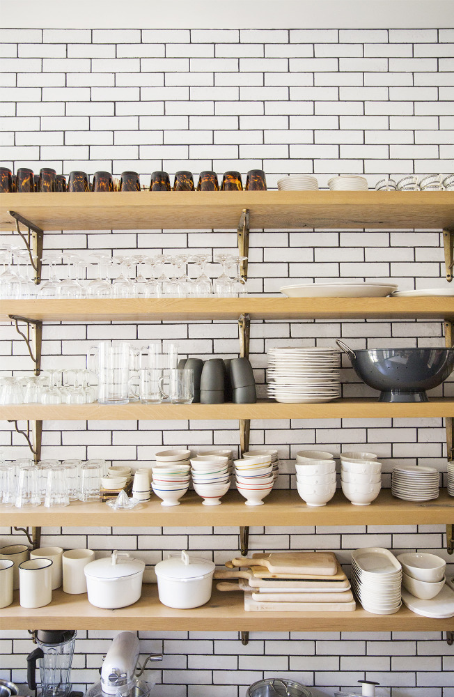 Dream kitchen subway tile wall dishware