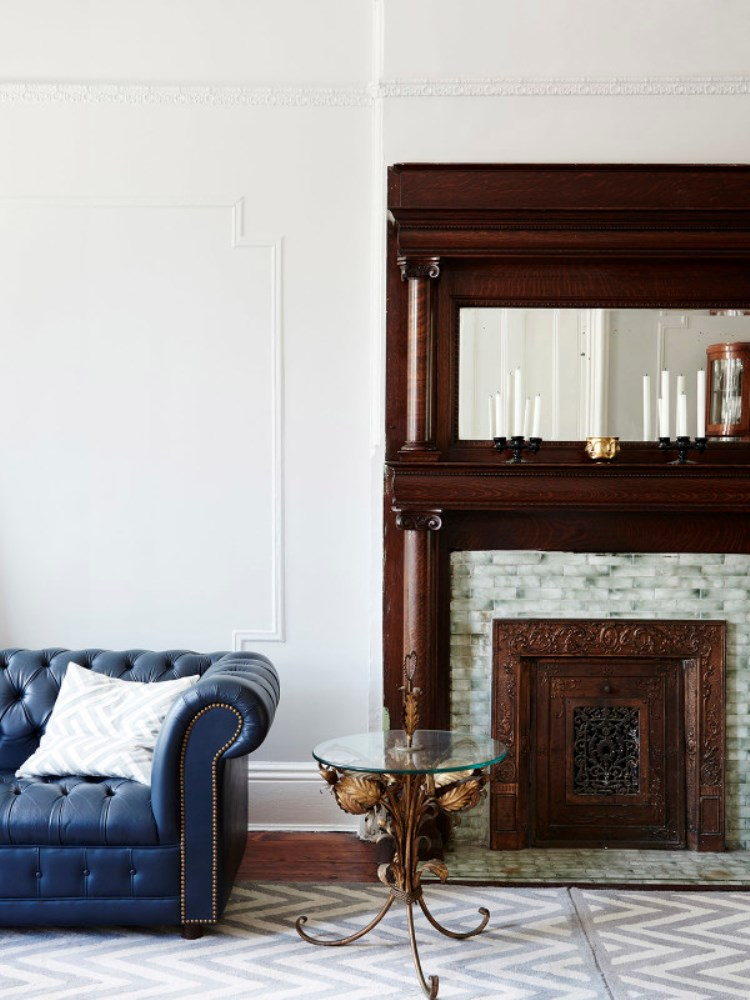 Brooklyn Brownstone Living Room Fireplace Blue Tufted Sofa Jeremyville Cococozy