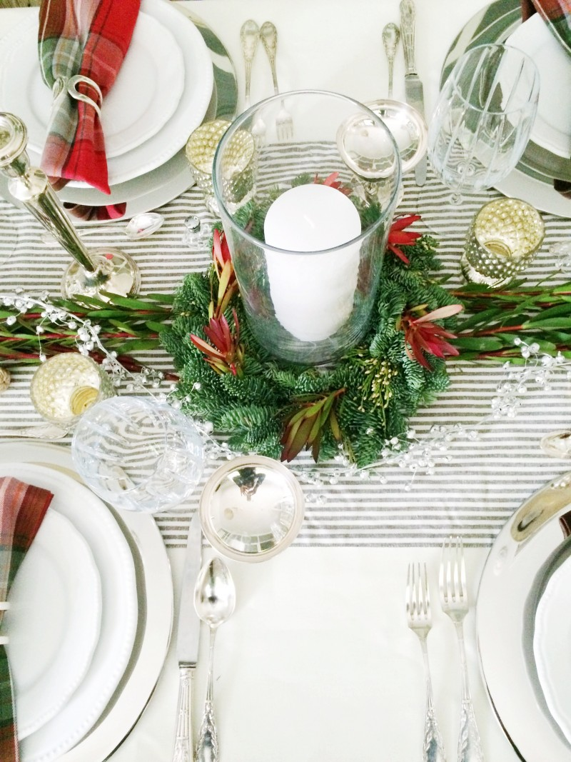 Holiday dinner table centerpiece