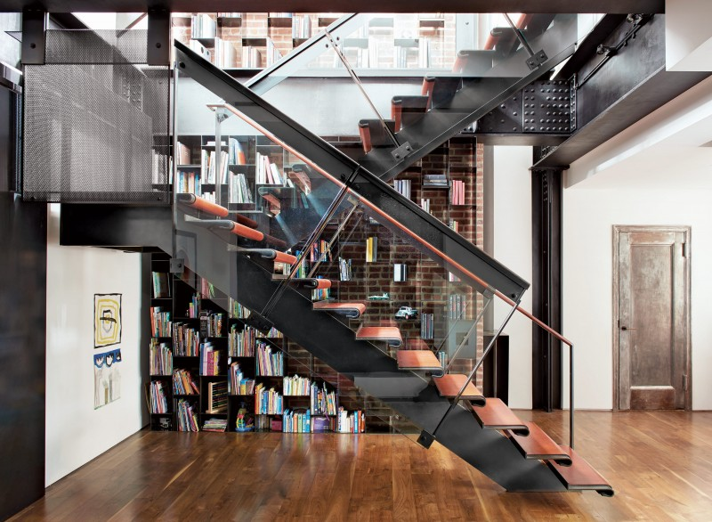 Glass steel leather staircase NYC apartment stairs