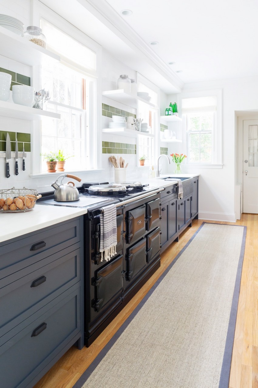 Cutest Kitchen Remodel Navy Blue Lower Cabinets