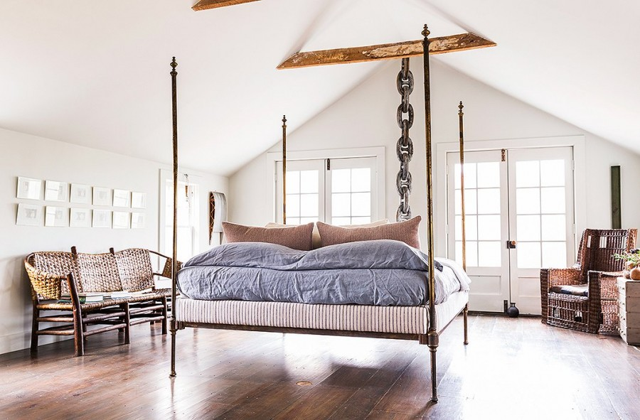 Restored Farmhouse Four Poster Bed Master Bedroom