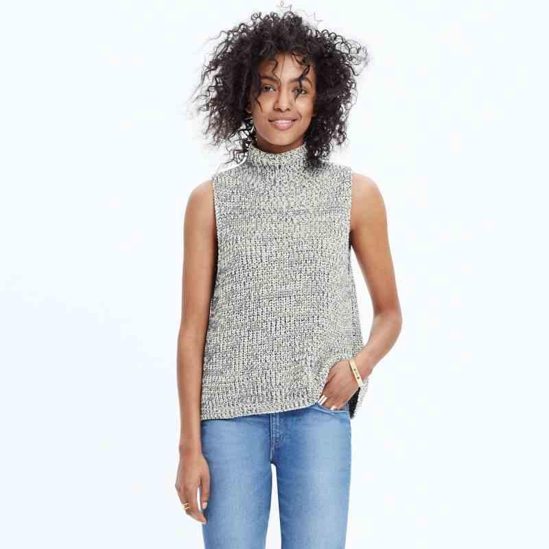 Madewell Black and White Veranda Sleeveless Sweater