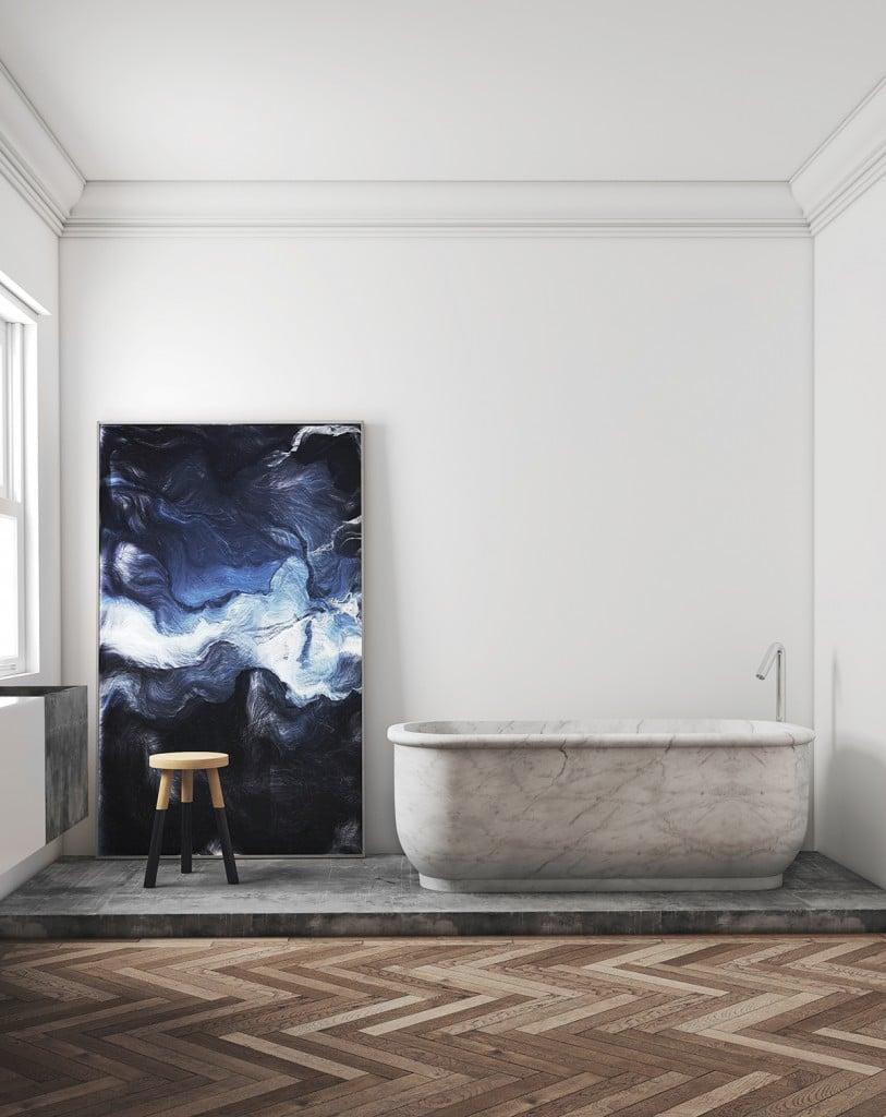 herringbone wood floors bathroom stand alone marble bath tub