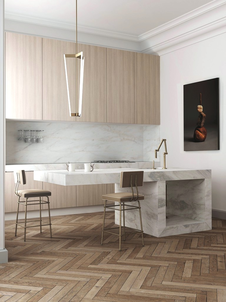 modern marble kitchen island cut out