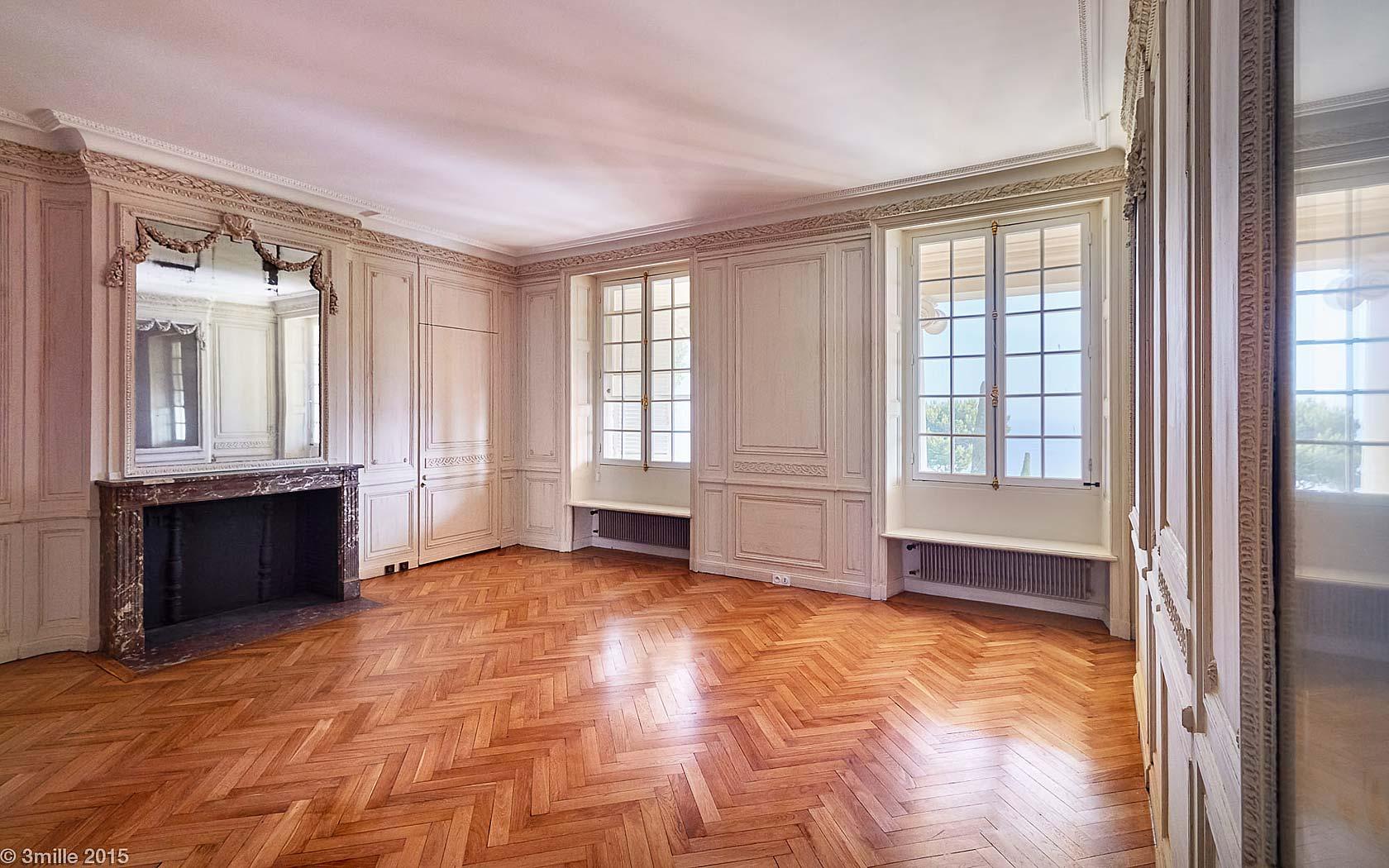 castle la croix des gardes master bedroom herringbone wood floors