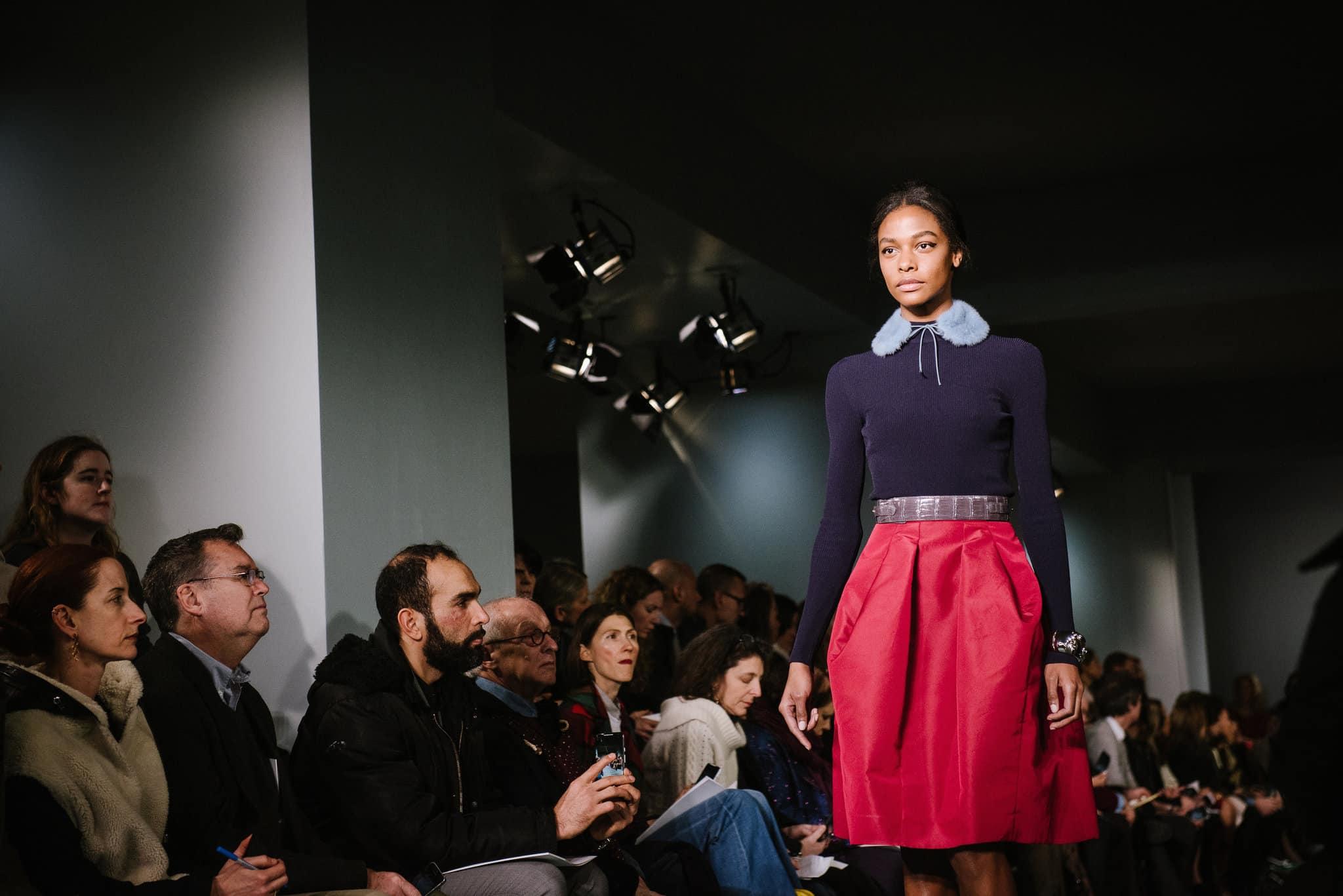 oscar-de-la-renta-hot-pink-skirt-navy sweater-cococozy-nyt