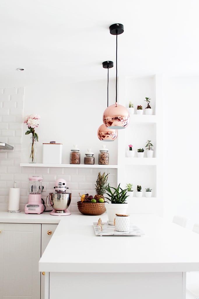 Small White Kitchen Copper Pendant Lights