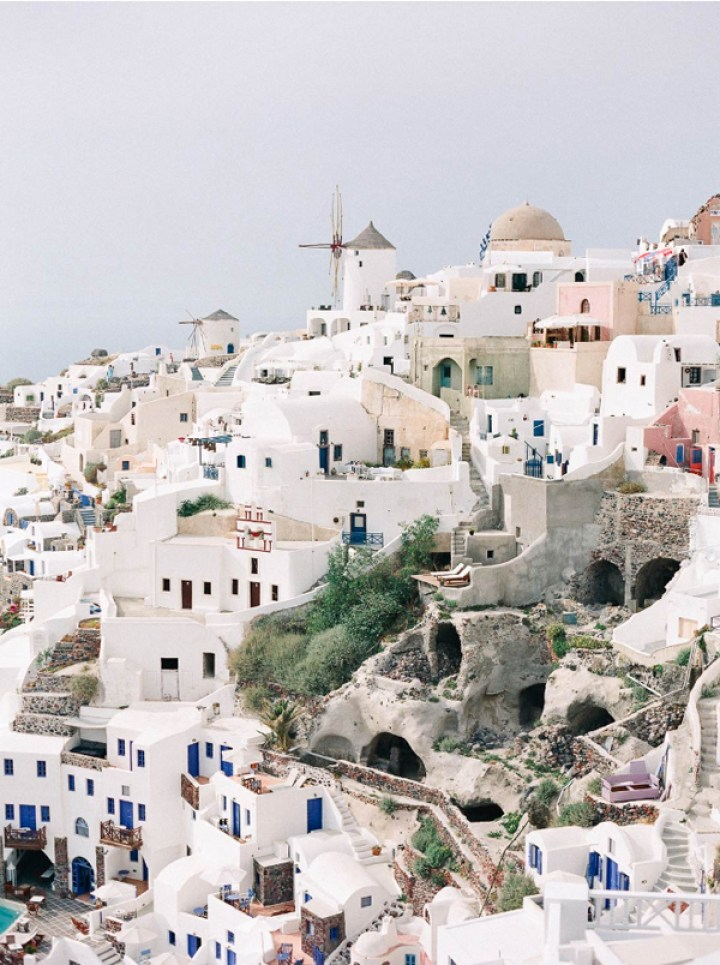 santorini greece pretty pastel travel