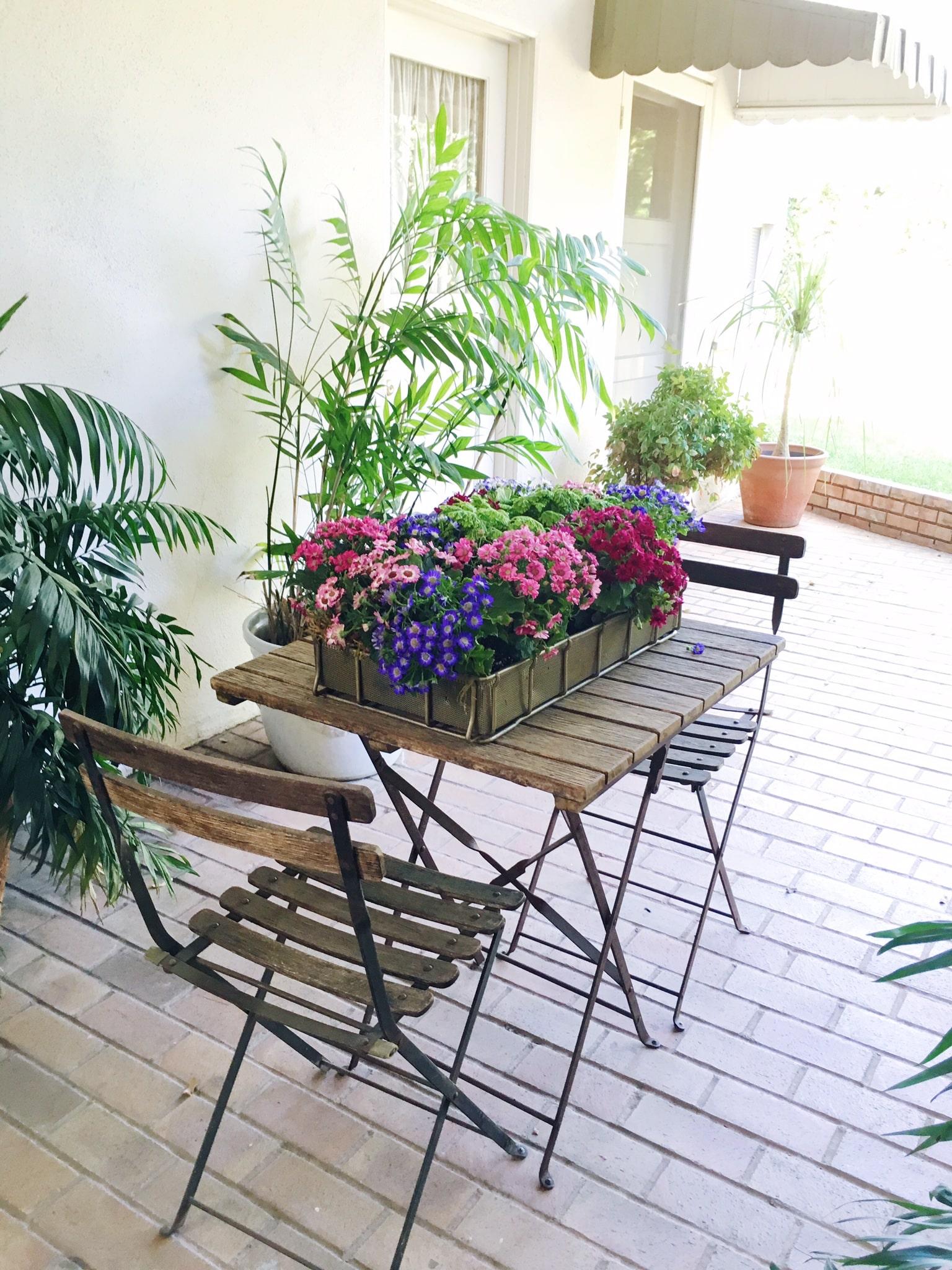 Bistro table flower box planter