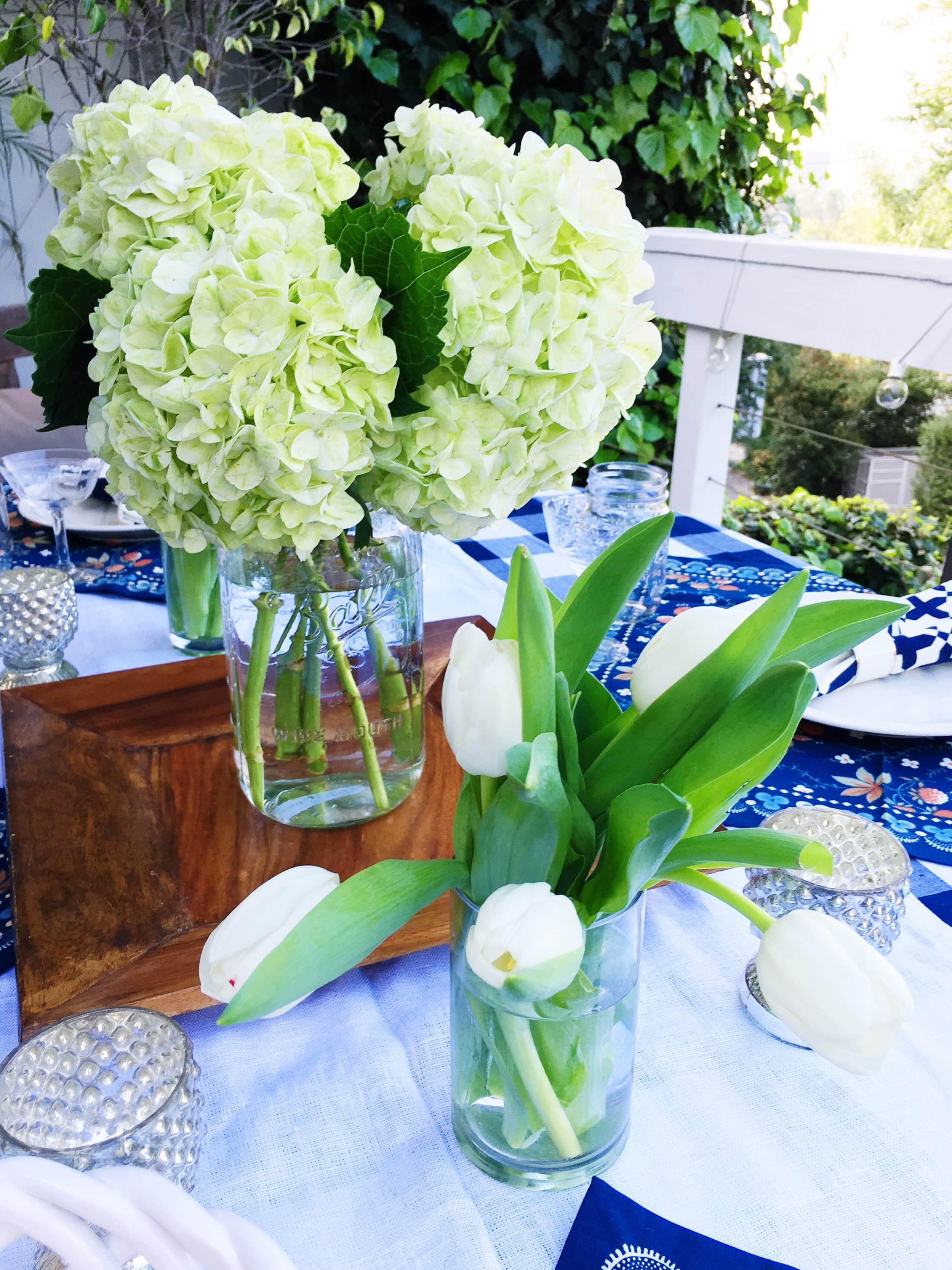 White hydrangea tulips flower arrangement