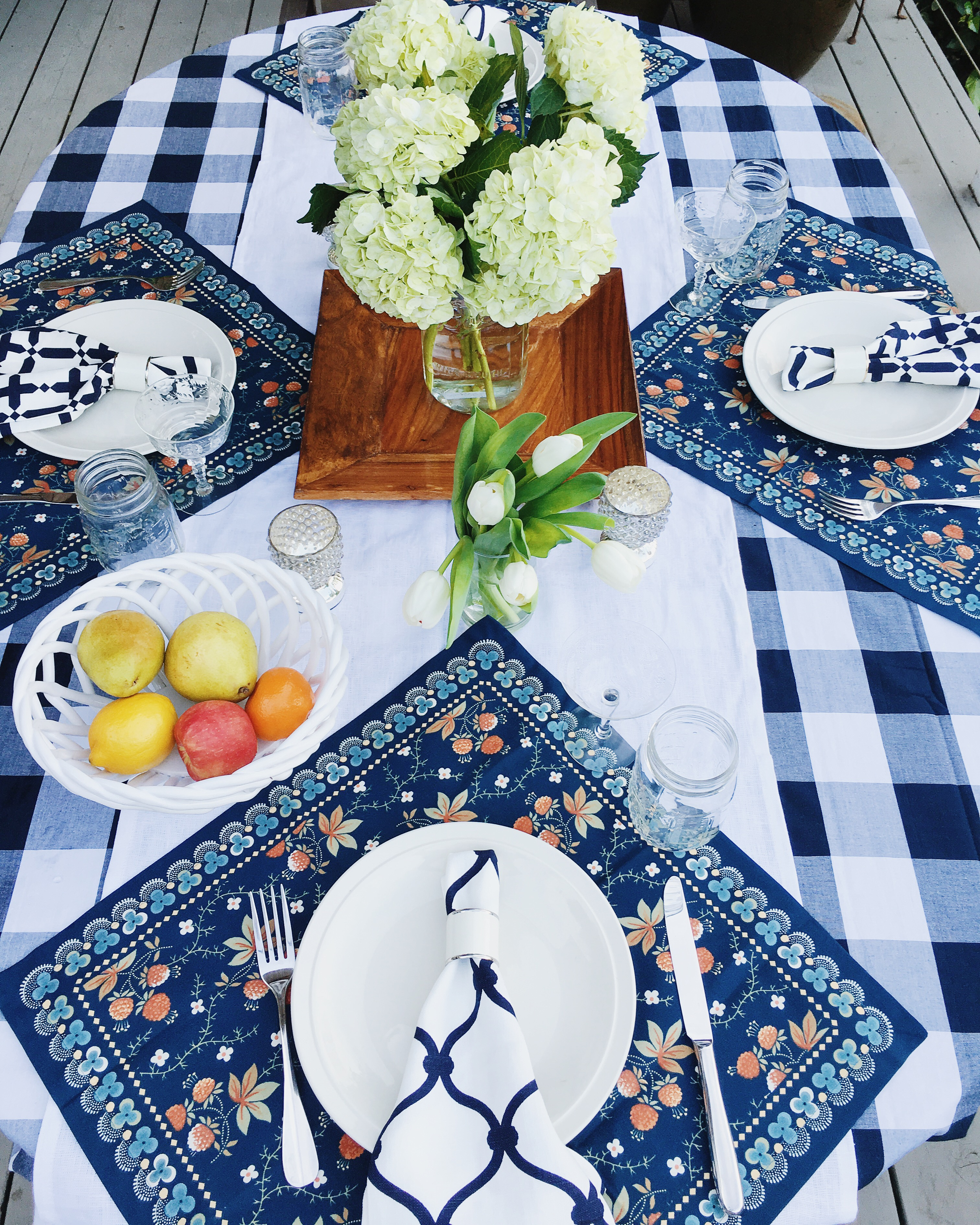 Blue White picnic table setting