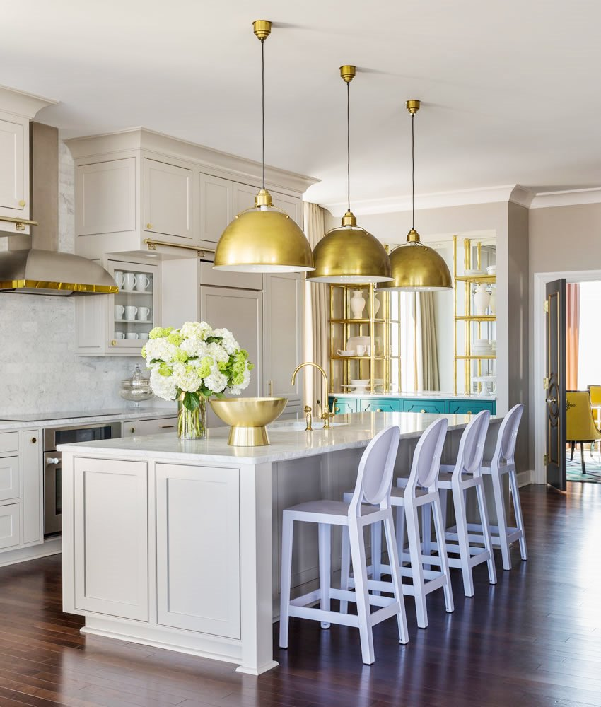 Grey Kitchen Cabinets Brass Accents - This Or That