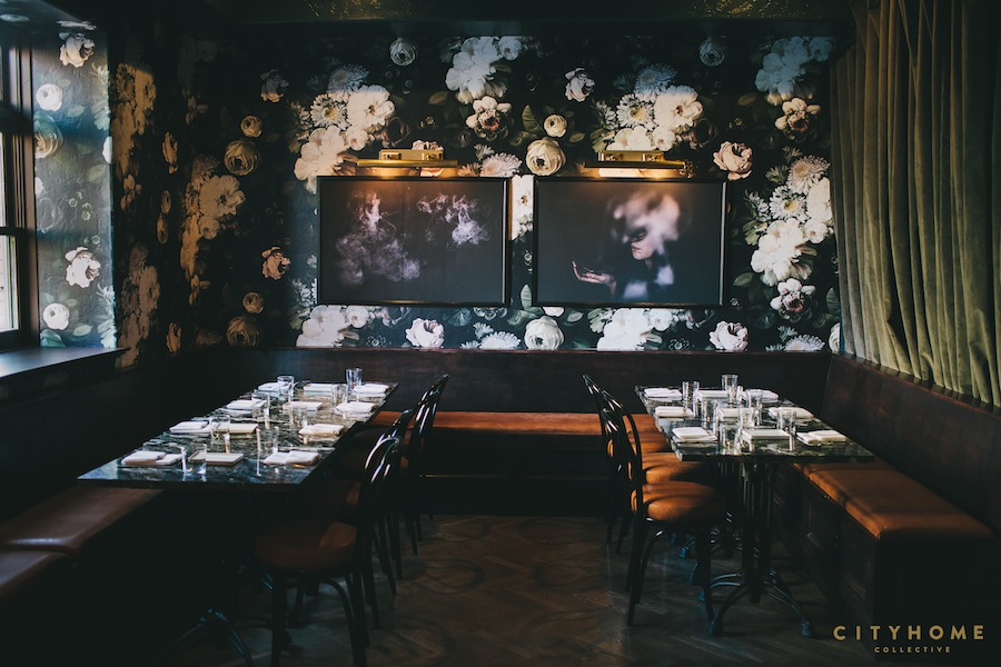 Dark Floral Wallpaper Restaurant Dining Room