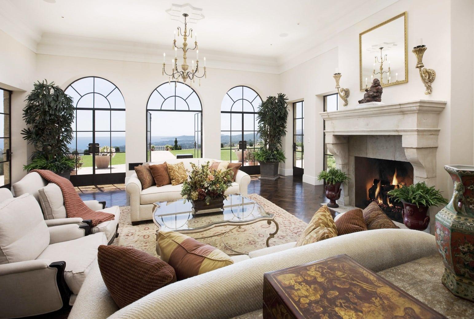 Santa Barbara Montecito Mansion Living Room Ocean View