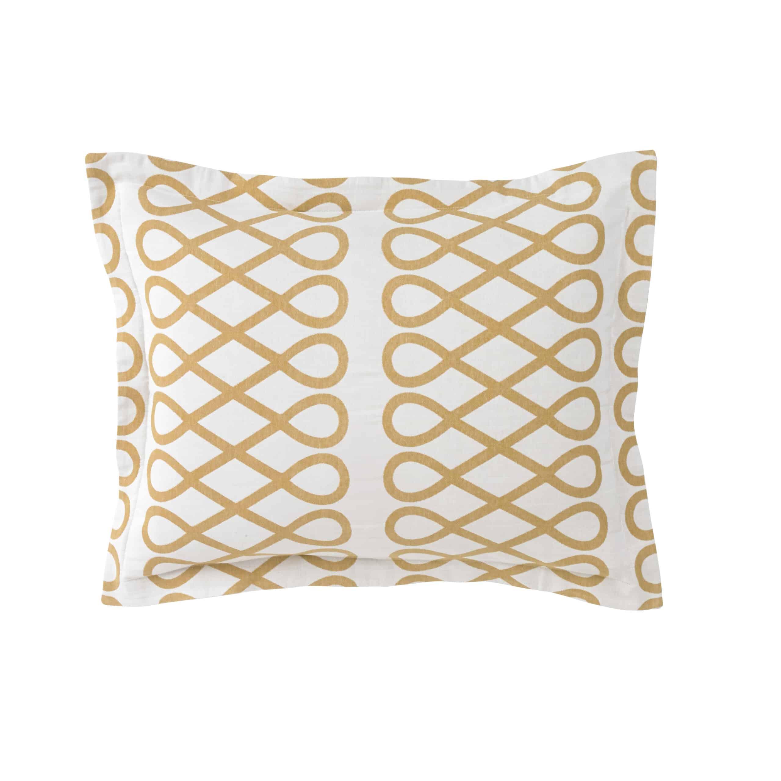 Loop Ochre Sham Pair_Standard All Modern Bedding Cococozy